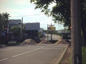 Дорога к аэропорту в Донецке