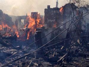 Разрушения жилого фонда в городах, пострадавших от вооруженных столкновений - 60%.