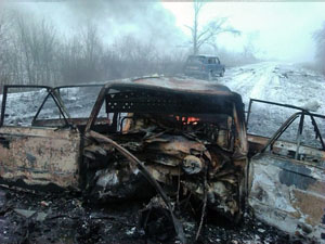 Не доехав несколько десятков метров до блокпоста, автомобиль взорвался.